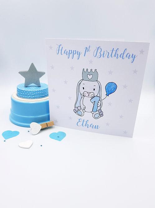Little Grey Bunny Card (Blue)