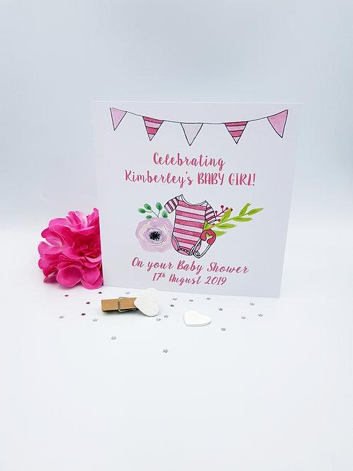 Baby Girl Baby Shower Card