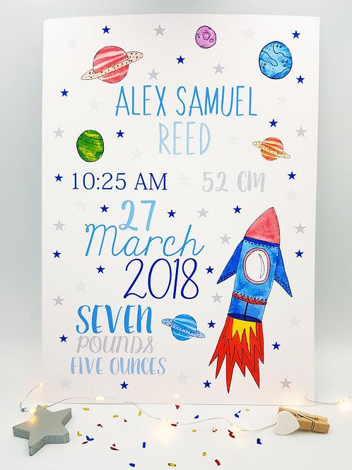 Rocketship Baby/Child Keepsake Print