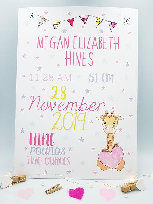 Pink Baby Giraffe Print