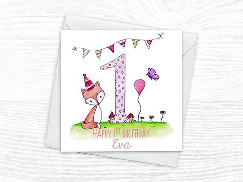 Little Fox Card - Pink