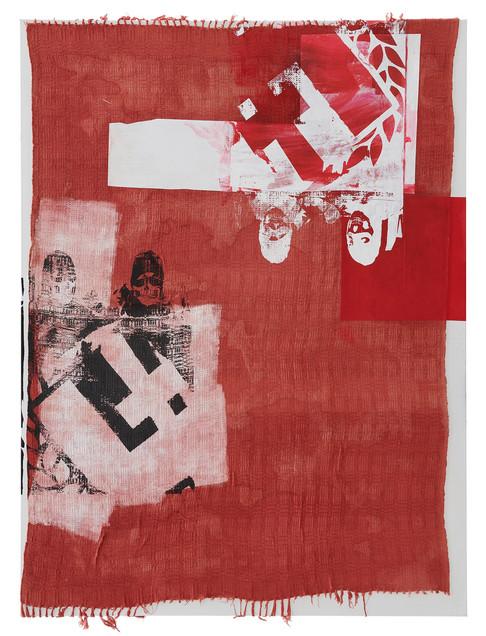"""""""11 Listopada"""", 2020 r. akryl, papier, sitodruk na ludowej kapie przyklejonej na płótno, 200 x 150 cm"""