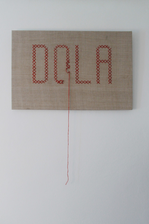 """""""Dola"""", 2020 r. haft krzyżykowy/ręcznie tkany 100-letni len, 53 x 80 cm"""