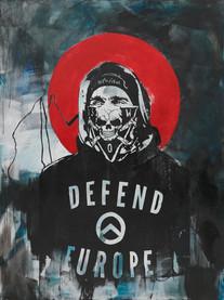 """""""Amor Patriae Nostra Lex, Defend Europe! (Odkąd zobaczyłem ciebie nie mogę jeść, nie mogę spać A na koniec cię przejadę moim walcem)"""", 2020 r.  akryl, sitodruk na płótnie, 160 x 120 cm"""