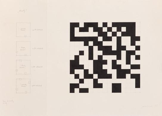 """Ryszard Winiarski, """"Obroty"""", 1985 r., akryl, ołówek/papier, 50 x 70 cm (wielkość arkusza), Kolekcja NOWA 20_21"""