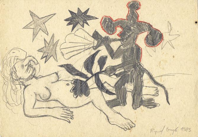 Bez tytułu, 1983 r., ołówek, kredka/papier, 21 x 29,7 cm