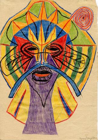 Bez tytułu, 1987 r., ołówek, kredka/papier, 29 x 20 cm