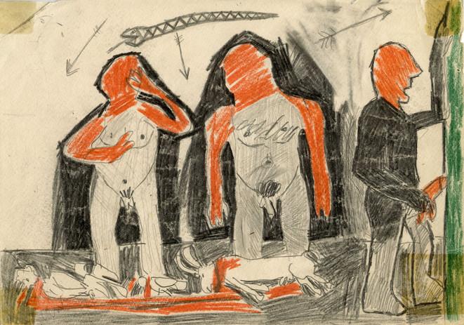 Bez tytułu, 1982 r., ołówek, kredka/papier, 21 x 29,7 cm