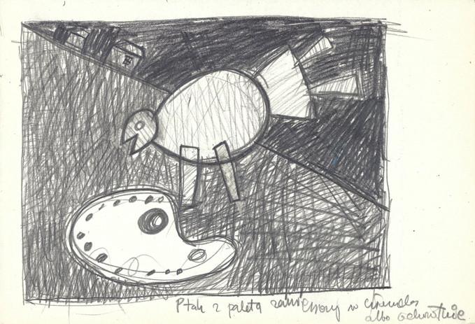 """""""Ptak z paletą..."""", 1980 r., ołówek/papier, 21 x 29,7 cm"""