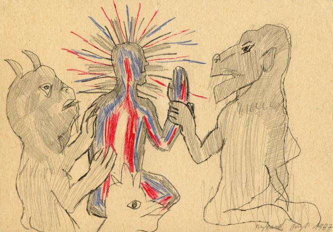 Bez tytułu, 1987 r., ołówek, kredka/papier, 21 x 29,7 cm