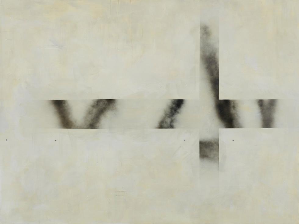 """""""B4"""", 2020 r. akryl, olej lniany substancja absorbująca, czarny lakier spray na płótnie,150 x 200 cm"""
