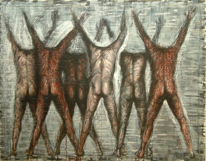 """""""Szcześć postaci z podniesionymi rękoma"""", 1988 r."""