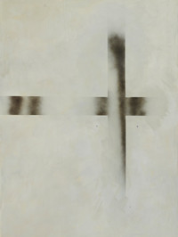 """""""B2"""", 2020 r. akryl, olej lniany substancja absorbująca, czarny lakier spray na płótnie, 200 x 150 cm"""