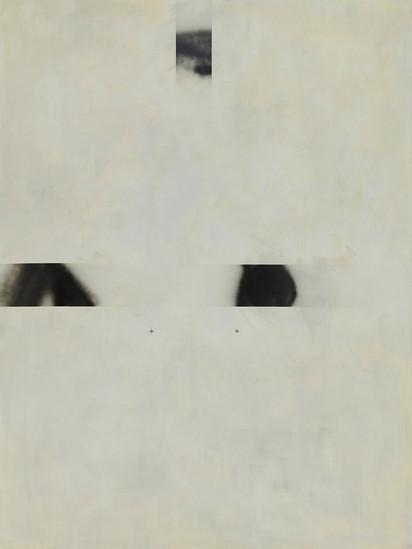 """""""B6"""", 2020 r. akryl, olej lniany, substancja abrosbująca, czarny lakier spray na płótnie, 200 x 150 cm"""