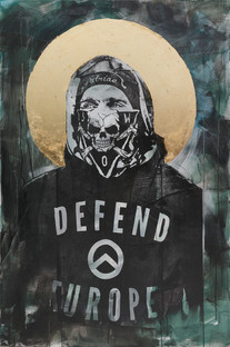 """""""Amor Patriae Nostra Lex, Defend Europe! (Znalazłem w tobie osta A na koniec cię przejadę moim walcem)"""", 2020 r.  akryl, schlagmetal, sitodruk na płótnie, 150 x 100 cm"""