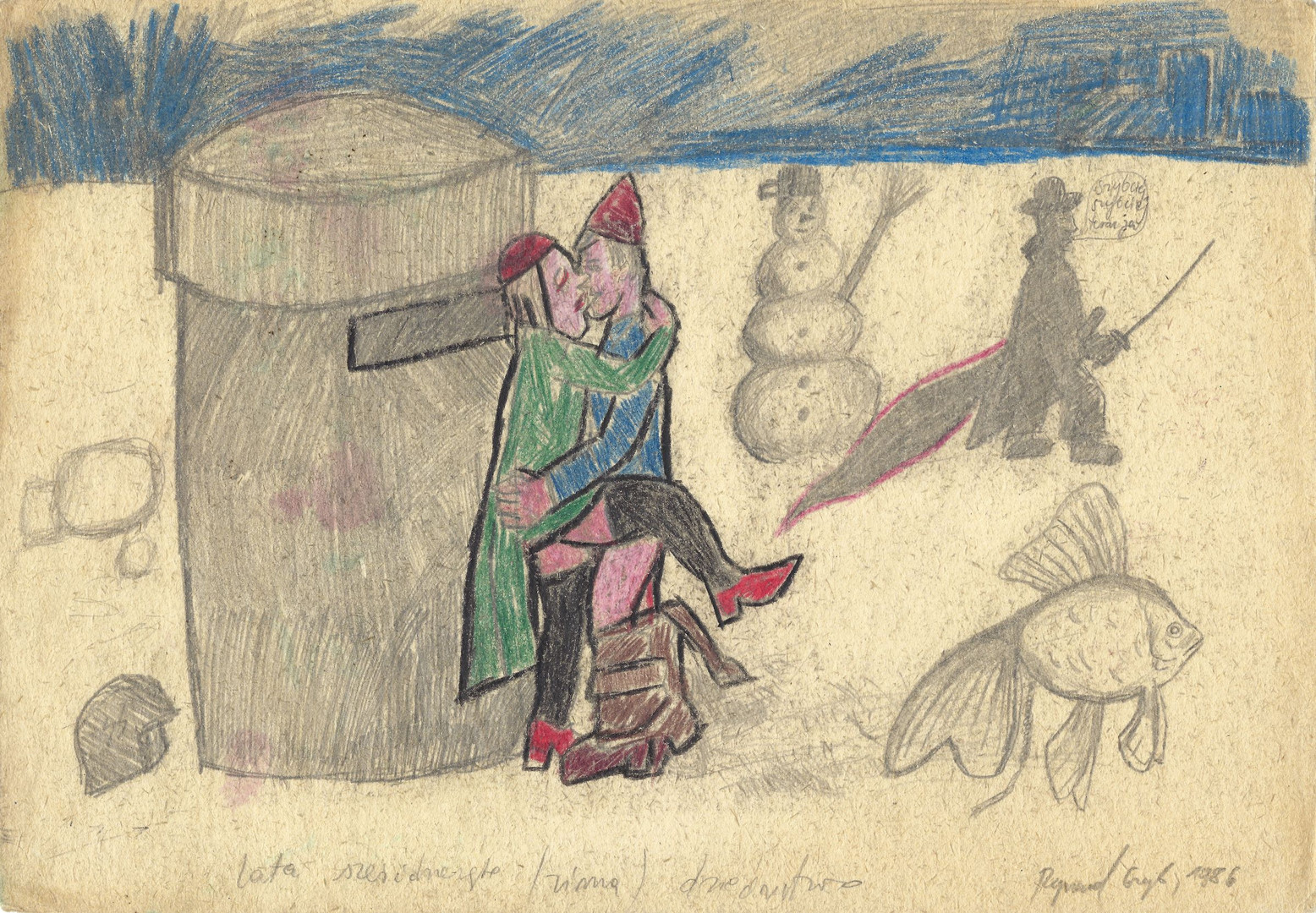 """Sixties (winter) - heritage"", 1986, pencil and crayon on paper, 21 x 29,7 cm"