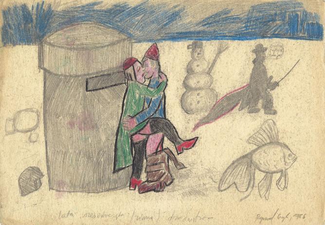 """""""Lata sześćdziesiąte (zima) - dziedzictwo"""", ołówek, kredka/papier, 21 x 29,7 cm"""
