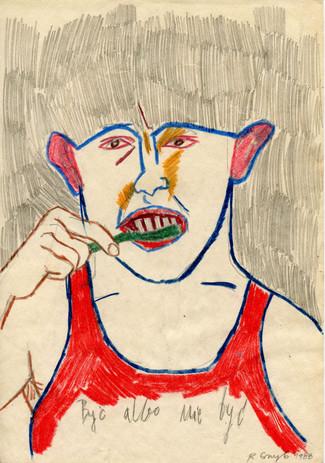 """""""Być albo nie być"""", 1988 r., ołówek, kredka/papier, 29,7 x 20 cm"""