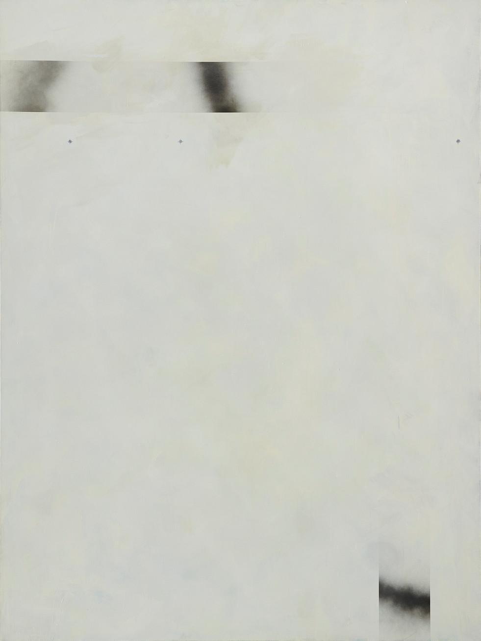 """""""C5"""", 2020 r. akryl, olej lniany, substancja absorbująca, czarny lakier spray na płótnie, 200 x 150 cm"""