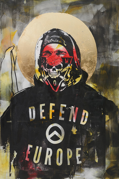 """""""Amor Patriae Nostra Lex, Defend Europe!  (Odkąd zobaczyłem ciebie nie mogę Mała, znów zarosłaś A na koniec cię przejadę moim walcem)"""", 2020 r. akryl, schlagmetal, sitodruk na płótnie, 150 x 100 cm"""