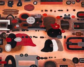 """Jan Tarasin, """"Przegląd kolekcji"""", 1985, olej na płótnie, 80 x 100 cm"""