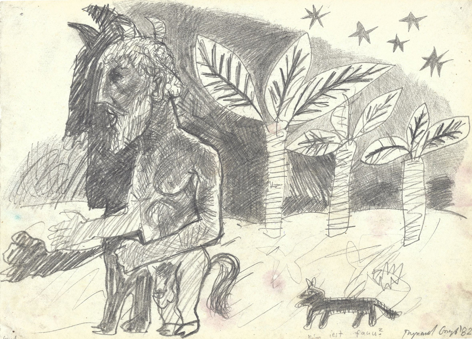 """Who is the faun?"", 1982, pencil on paper, 21 x 29,7 cm"