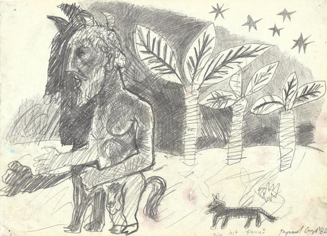 """""""Kim jest faun?"""", 1982 r., ołówek/papier, 21 x 29,7 cm"""