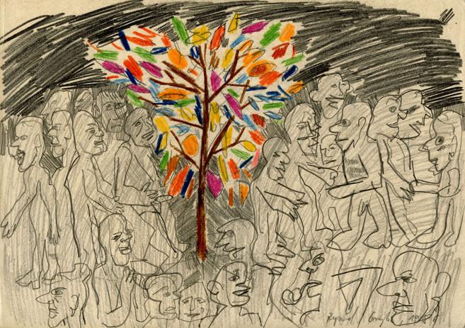 Bez tytułu, 1986 r., ołówek, kredka/papier, 21 x 29,7 cm