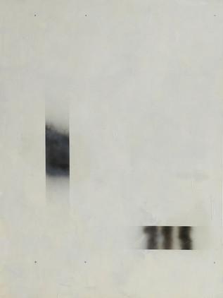 """""""A1"""", 2020 r. akryl, olej lniany, substancja absorbująca, czarny lakier spray na płótnie, 200 x 150 cm"""
