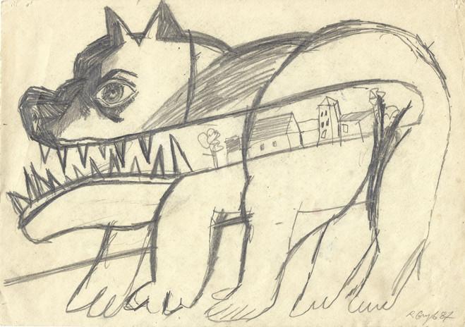 Bez tytułu, 1987 r., ołówek/papier, 21 x 29,7 cm