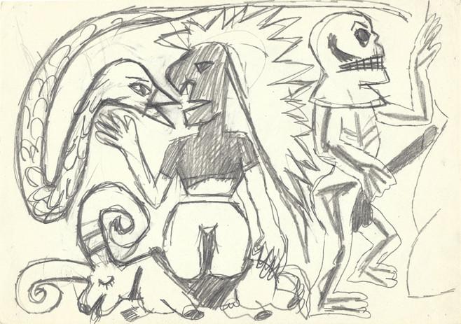 Bez tytułu, 1986 r., ołówek/papier, 21 x 29,7 cm