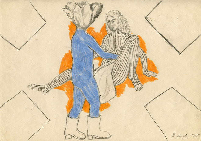 Bez tytułu, 1988 r., ołówek, kredka/papier, 21 x 29,7 cm