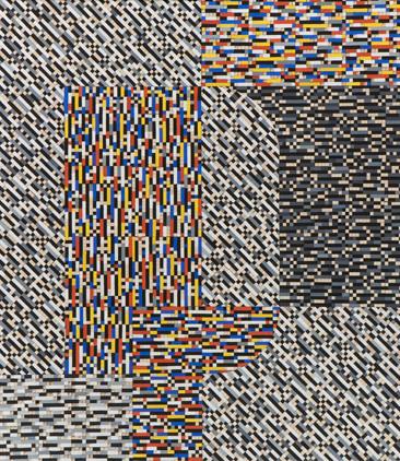 """Mateusz Szczypiński, """"Crossword (after Stażewski)"""", z cyklu """"Krzyżówki"""", 2019 r., olej, kolaż/płótno, 80 x 70 cm"""