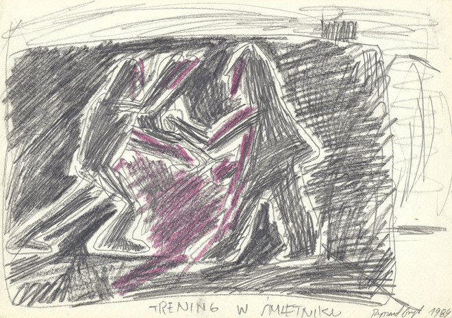 """""""Trening w śmietniku"""", 1984 r., ołówek, kredka/papier, 21 x 29,7 cm"""