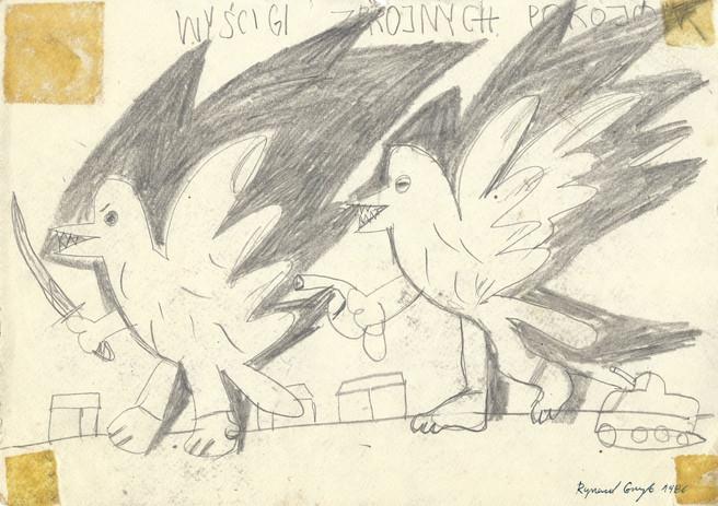 """""""Wyścigi zbrojnych pokojów"""", 1986 r., ołówek/papier, 21 x 29,7 cm"""