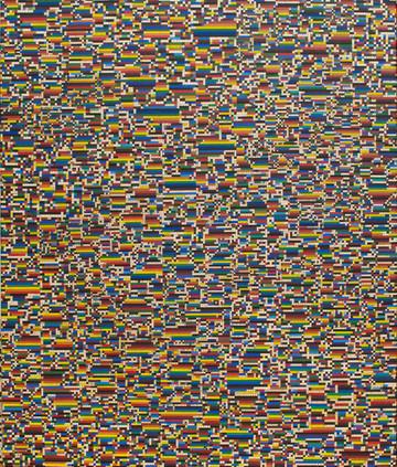 """Mateusz Szczypiński, """"Aligato"""", z cyklu """"Krzyżówki"""", 2020 r., olej, kolaż/płótno, 120 x 100 cm"""