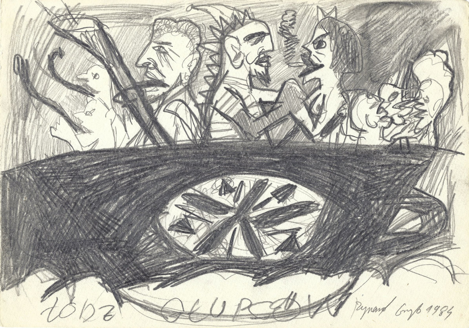 """Ship of fools"", 1984, pencil on paper, 21 x 29,7 cm"
