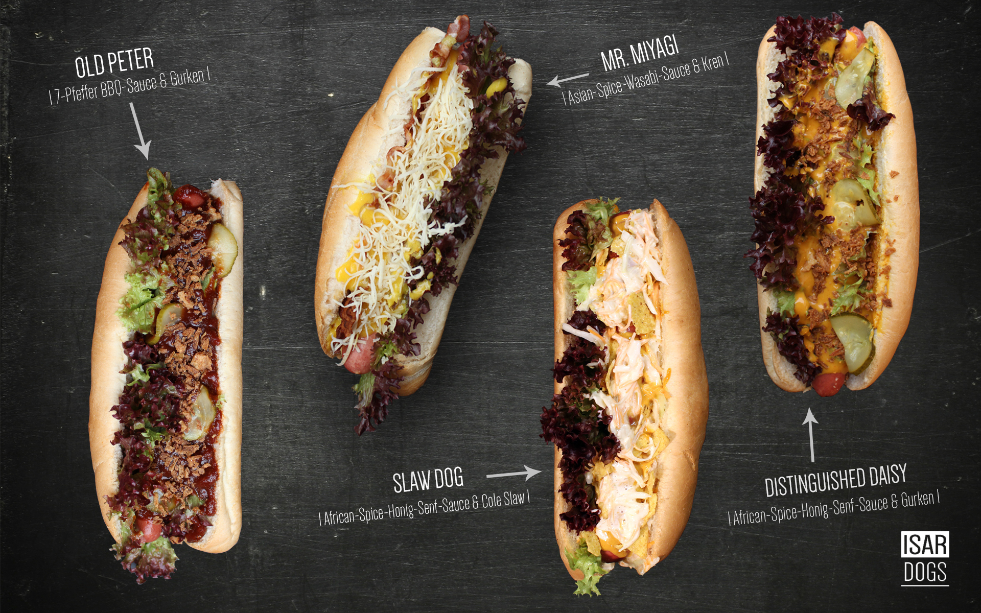 ISARDOGS Gourmet Hot Dogs_all in