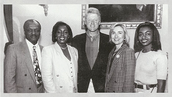 President Clinton & Hillary, Judy & daughter Shawn Mitchell at the Premier of Ken Burn's Baseball   Photo Courtesy of Judy Pace Flood