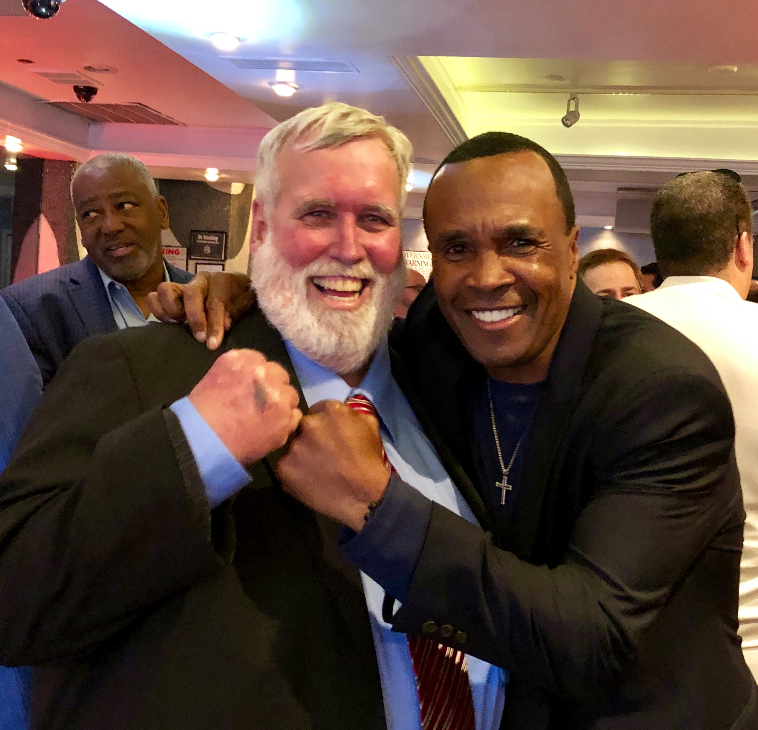 Thom with Sugar Ray Leonard