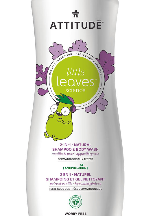 Shampoo & gel de baño natural Attitude - Vainilla y Pera (473ml)