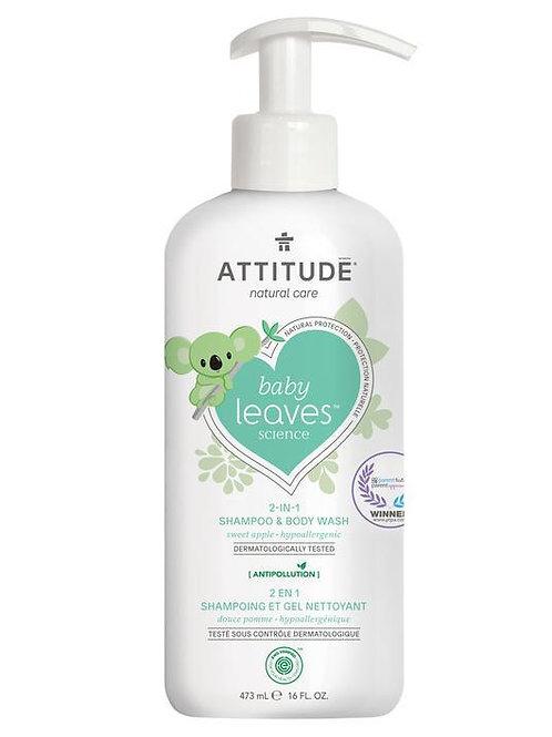 Shampoo & gel de baño natural Attitude - Baby Leaves Sweet Apple 473ml
