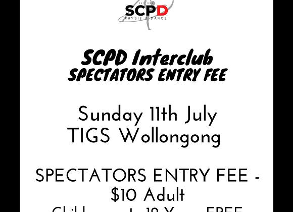 Spectators Entry Fee SCPD Interclub