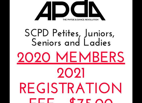 2020 Members 2021 APDA SCPD Petites, Juniors, Seniors and Ladies Registration