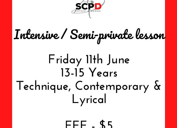 Intensive / Semi Private Lesson 11th June 13-15 Years