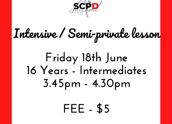Intensive / Semi Private Lesson 18th June 16 & Inters