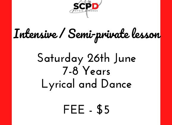 Intensive/Semi Private Lesson Sat 26th June 7-8 Years
