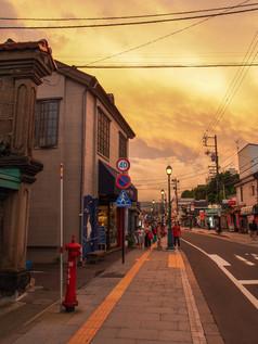 堺町通りの夕空 Sunset sky at Skaimachi Street