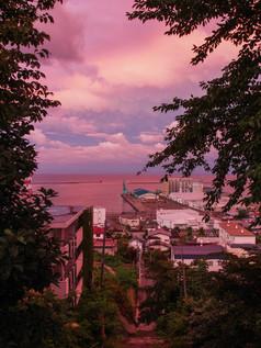 水天宮の夕空 Sunset sky at Suitengu Shrine