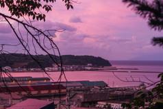 水天宮からの夕焼け Sunset at the Suitengu-Shrine